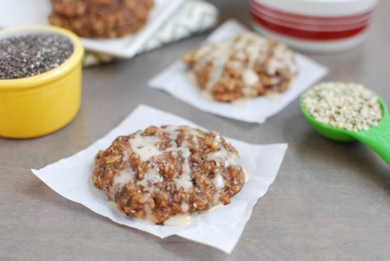 These Almond Butter Banana Cookies are gluten-free and lightly sweetened with maple syrup. They're packed with protein and fiber and are healthy enough for breakfast. Add a little glaze and you've got dessert!