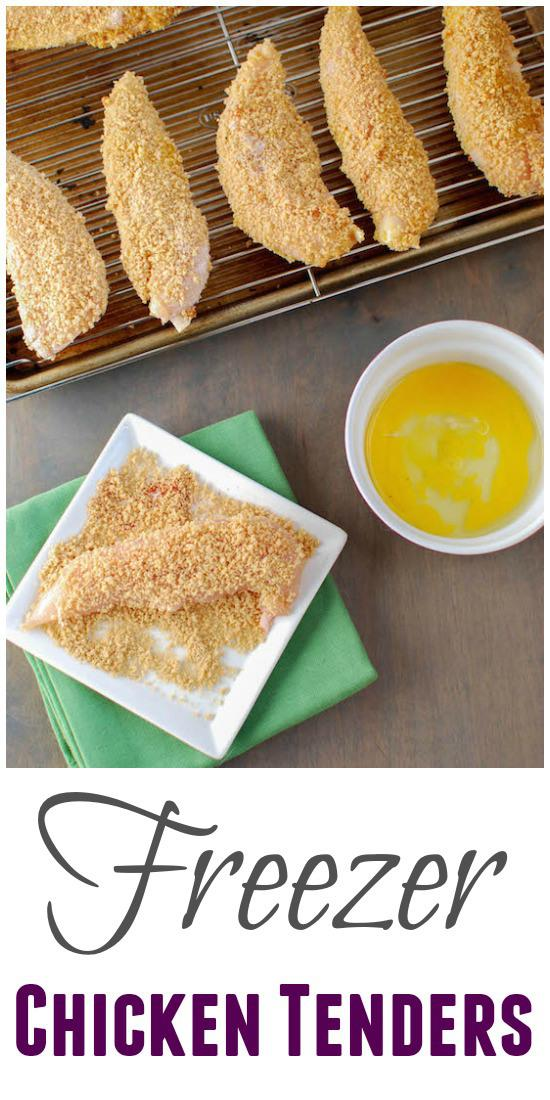 Stock your freezer some a few batches of these chicken tenders and pull them out for a healthy dinner on a busy night!