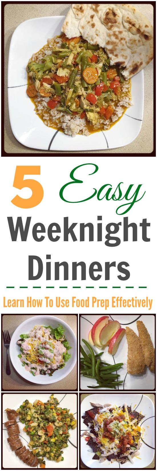 Need quick and easy weeknight dinners? Learn how to use food prep effectively to make it easy to throw together healthy and delicious weeknight meals!
