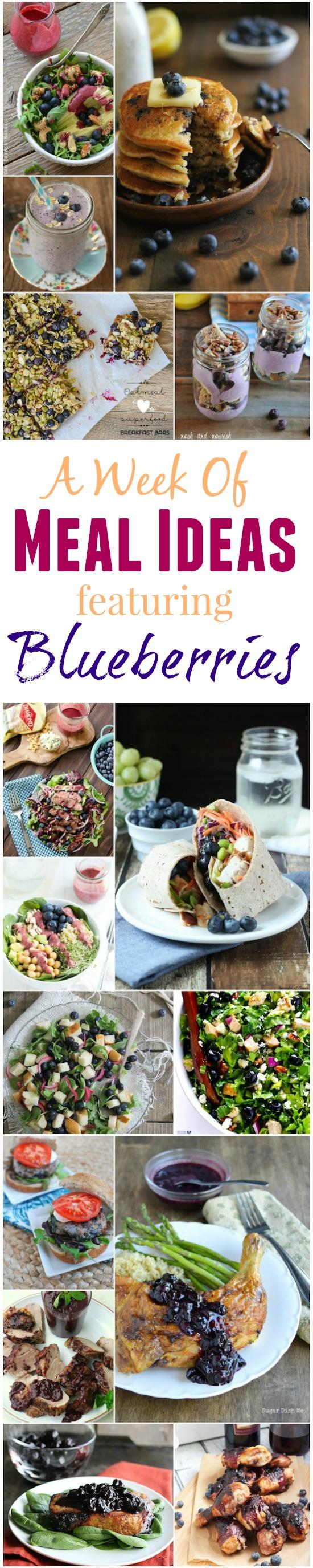 A week of meal ideas featuring blueberries! Recipes for breakfast, lunch, dinner, snack and dessert!