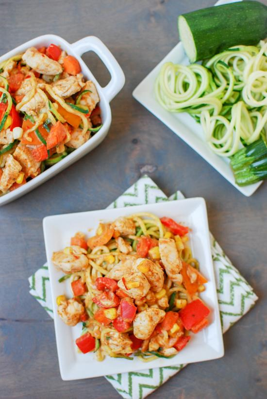 Zoodles with Chicken & Almond Butter Sauce