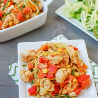 Zoodles with Chicken and Spicy Almond Butter Sauce