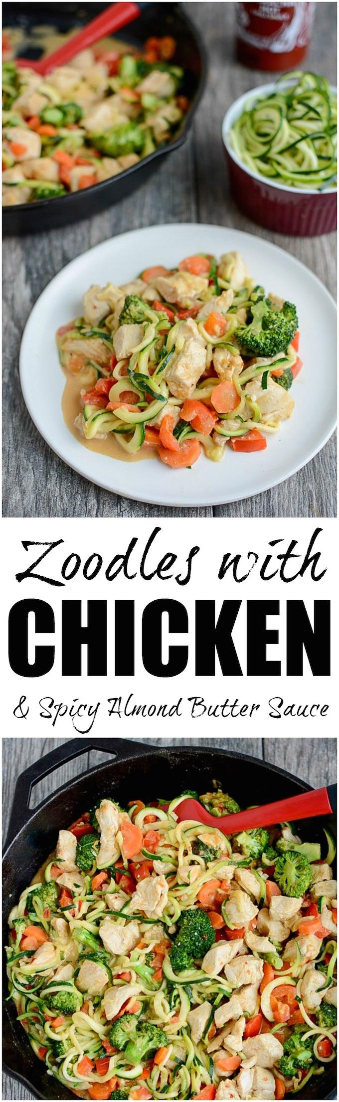 This recipe for Zoodles with Chicken and Spicy Almond Butter Sauce is low-carb, high in protein and makes veggies flavorful and fun to eat!