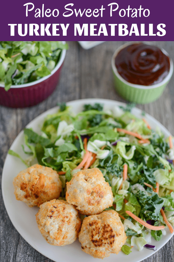 These Paleo Turkey Sweet Potato Meatballs are easy to prep ahead of time and taste good warm or cold. They make a great post-workout snack and can be served with a dipping sauce and side salad for an easy lunch or dinner.