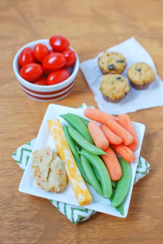 Mini meal- hummus and veggies, cheese and sweet potato mini muffins