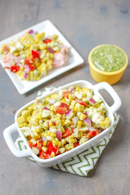 With just a few simple ingredients, this Pesto Corn Salad makes a great dinner side dish and can also be used as a topping on chicken or fish!
