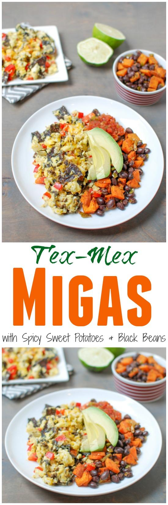 Tex-Mex Migas are a simple, vegetarian recipe, perfect for breakfast or dinner. Add a simple sweet potato and black bean hash for extra protein and fiber!