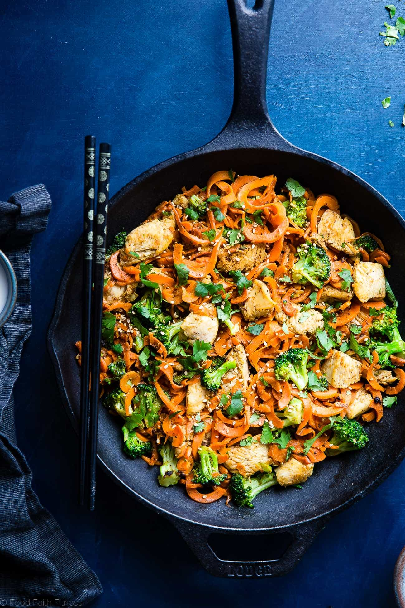cumin chicken stir fry with carrot noodles