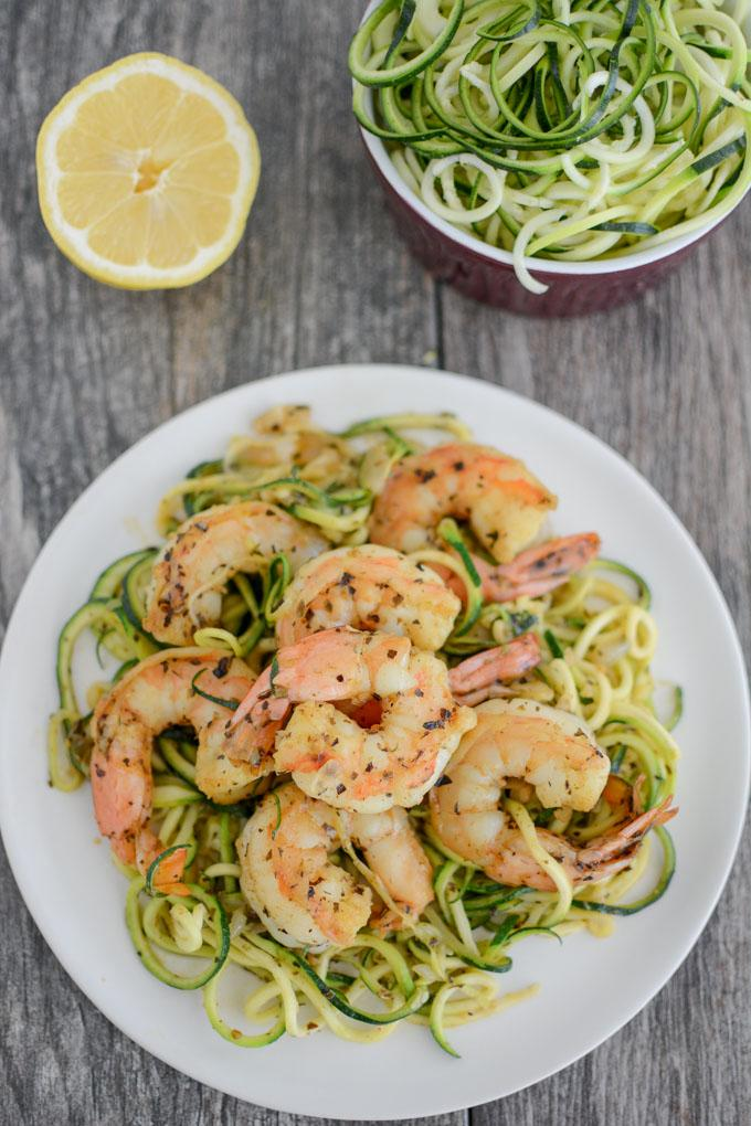 Paleo Shrimp Scampi with lemon and zoodles