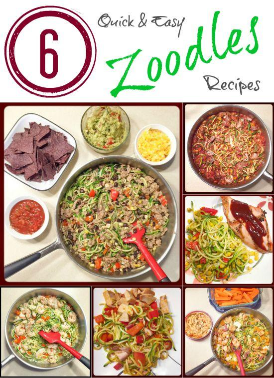 6 Quick and Easy Zoodles recipes to eat for dinner on a busy night.