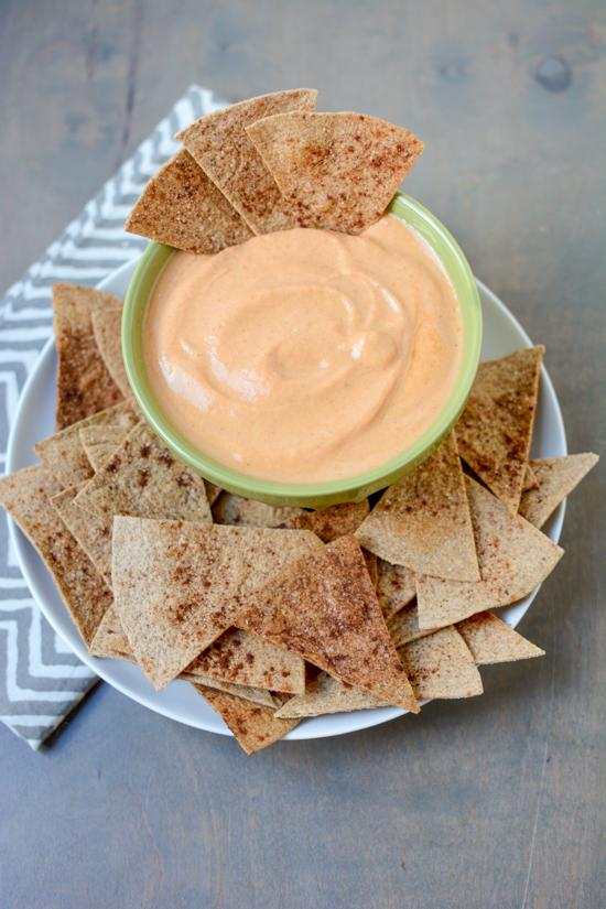 Serve this Pumpkin Yogurt Dip with cinnamon sugar tortilla chips for an afternoon snack!
