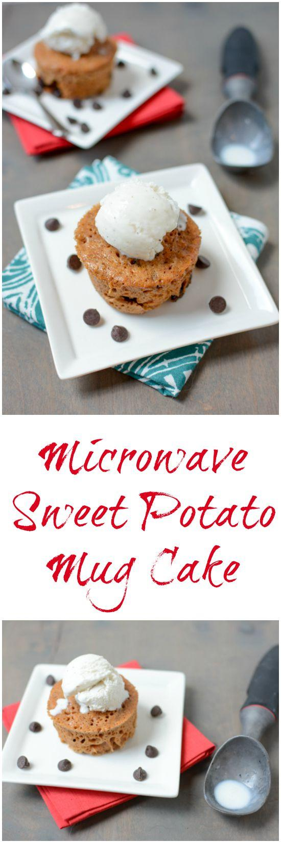 Made with simple ingredients, this Microwave Sweet Potato Mug Cake can be made quickly when the dessert craving hits!