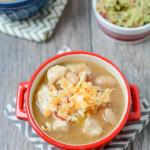 Made with simple ingredients and packed with protein, this Easy White Chicken Chili is the perfect lunch or dinner soup and a nice change from traditional tomato-based chili.