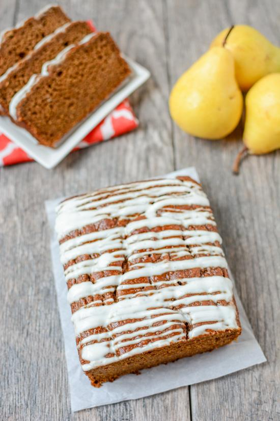 This recipe for Pear Gingerbread is perfectly spiced and full of flavor. It's easy to mix up in a blender and is great for an afternoon snack or topped with some ice cream for a holiday dessert.