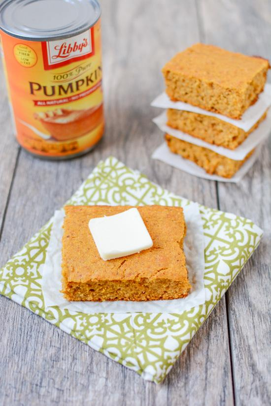 Lightly sweetened and full of fall flavors, this recipe for Pumpkin Cornbread is the perfect dinner side dish. Make a batch for Thanksgiving or enjoy with a big bowl of chili.