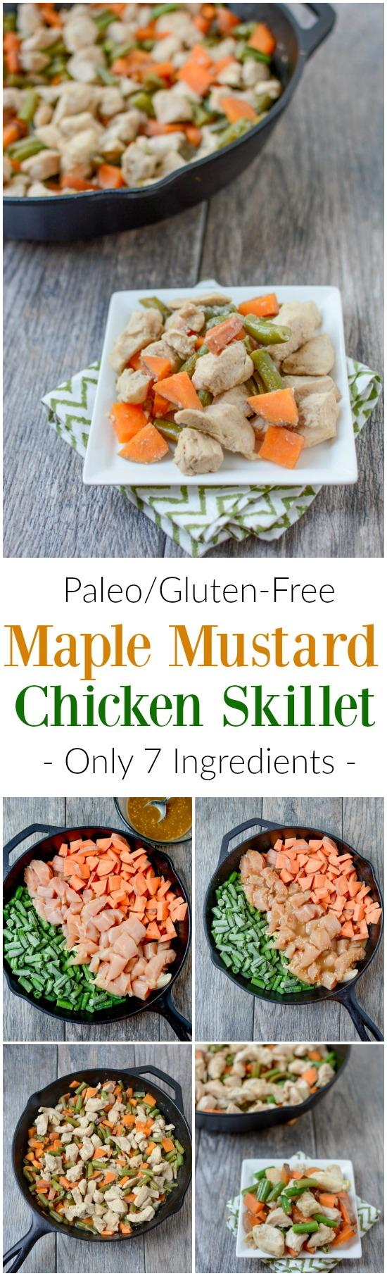 Made with just seven ingredients, this recipe for Maple Mustard Chicken Skillet makes a great weeknight dinner. It's a paleo, gluten-free and full of flavor!