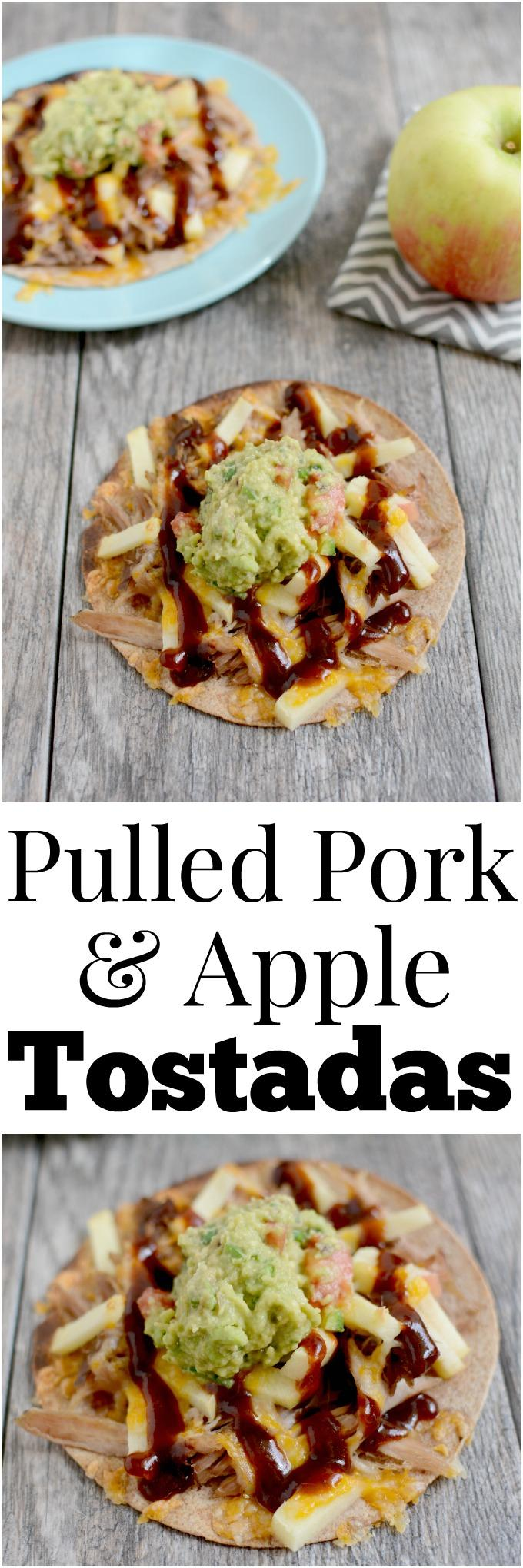 These Pulled Pork and Apple Tostadas are a simple, flavorful way to use up leftover pork. Perfect for lunch, dinner or a quick snack!