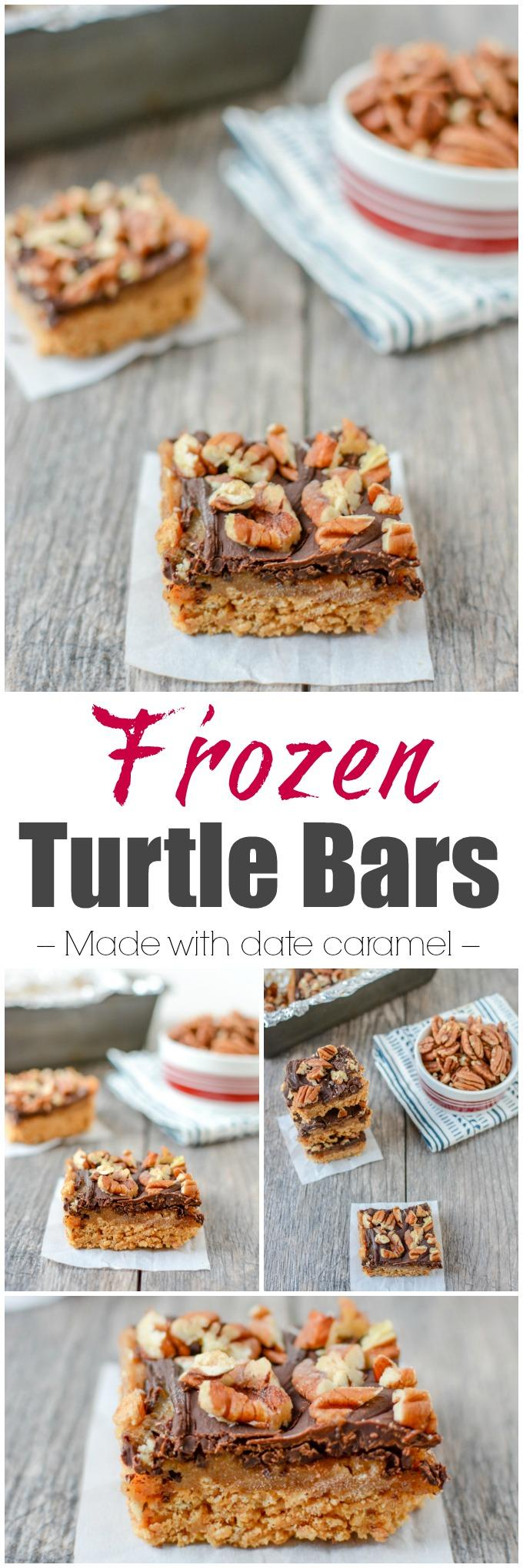 These five-ingredient Frozen Turtle Bars are a simple, easy to make dessert and are perfect to have on hand for an after dinner treat!