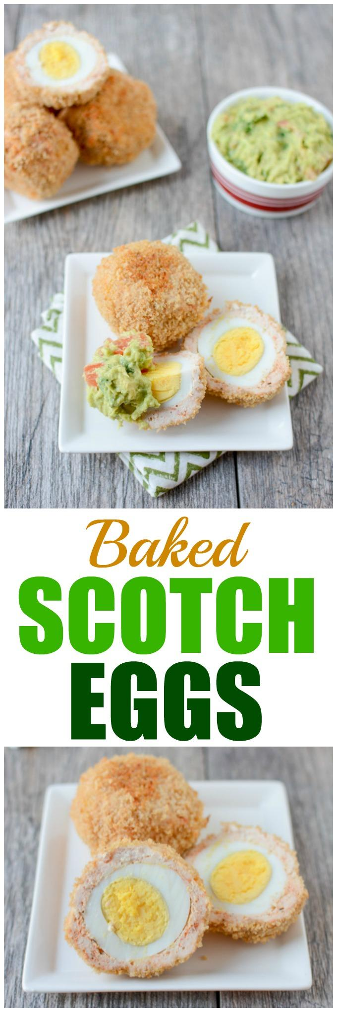 This recipe for Baked Scotch Eggs makes a great high protein breakfast. Enjoy them warm or cold and serve with guacamole for some added healthy fats!