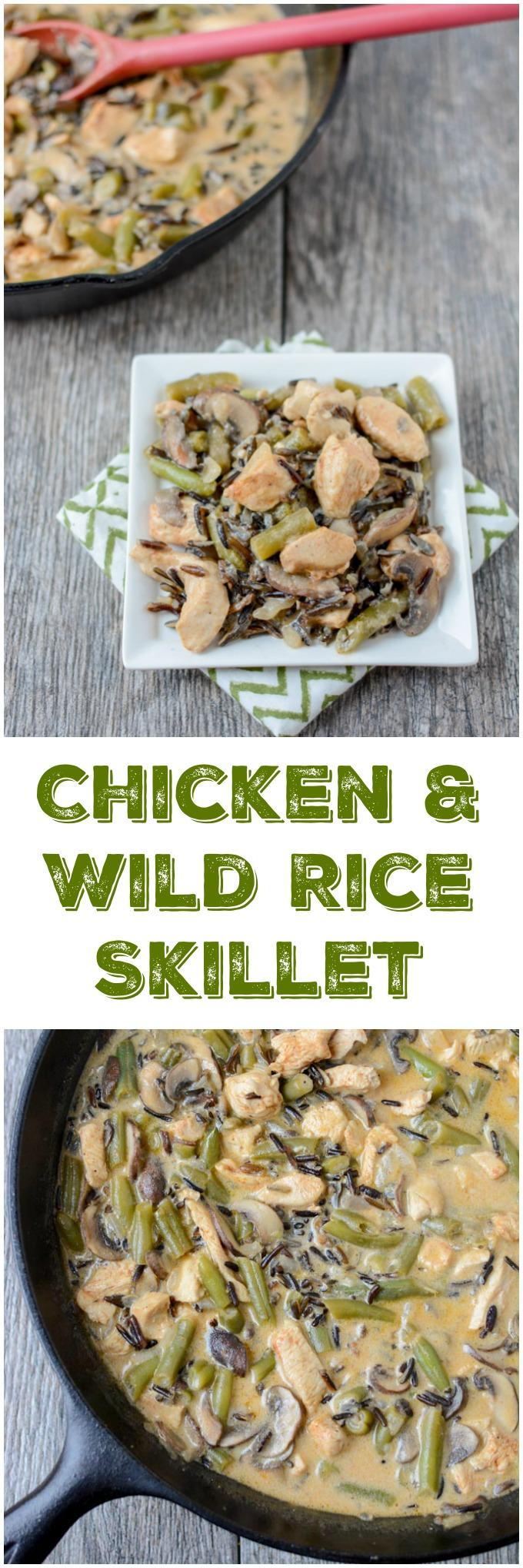 This gluten-free Creamy Chicken and Wild Rice Skillet recipe is the perfect dinner for a busy night. It's quick, healthy and packed with protein and vegetables.