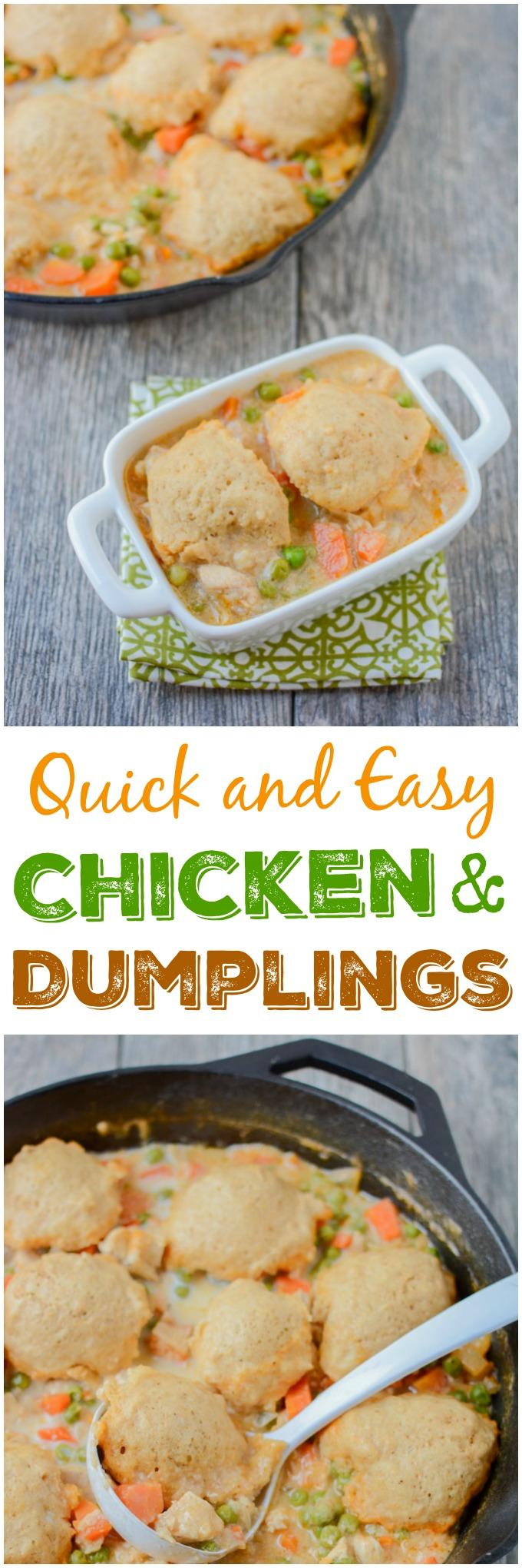 This recipe for Skillet Chicken and Dumplings makes an easy weeknight dinner. Ready in 30 minutes, it's healthy comfort food packed with protein and vegetables!