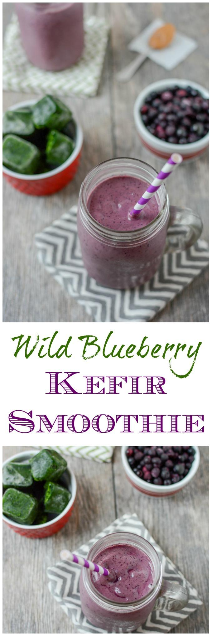 This Wild Blueberry Kefir Smoothie is packed with protein, greens and probiotics and makes a great breakfast or afternoon snack.