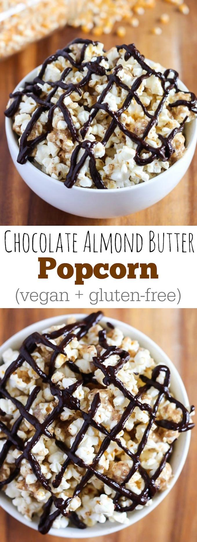 This recipe for vegan, gluten-free Chocolate Almond Butter Popcorn is so easy and makes a perfect healthy movie night dessert! You could even eat it for a snack!