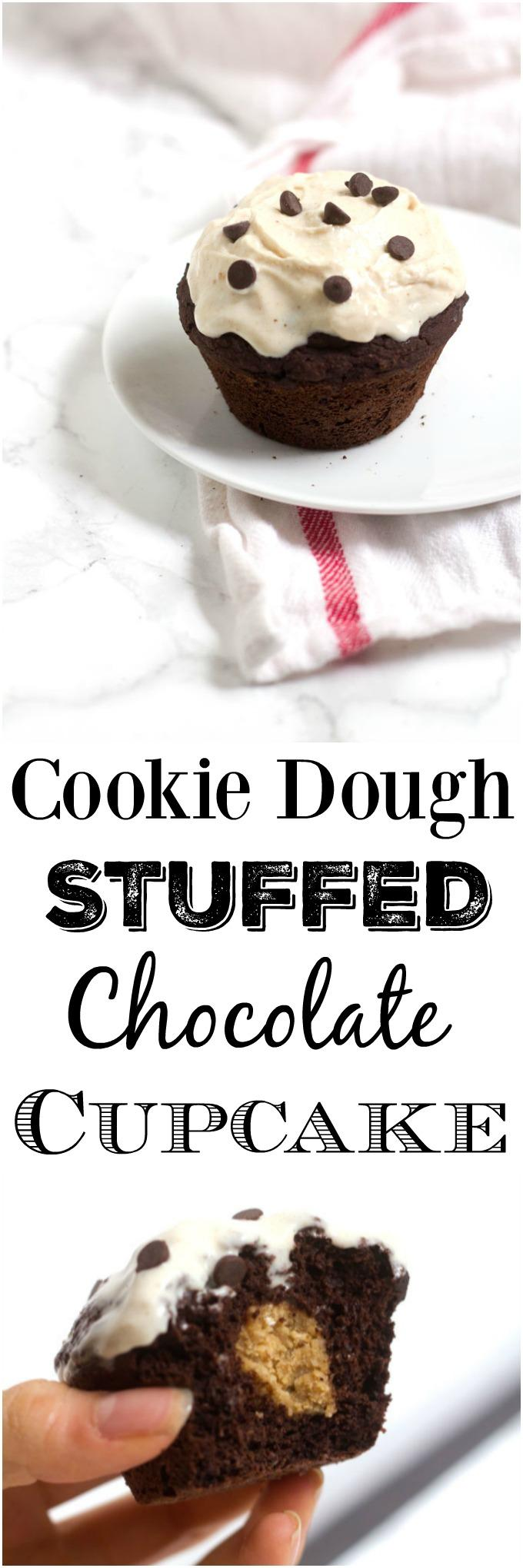 This single serving Cookie Dough Stuffed Chocolate Cupcake is the perfect dessert to satisfy your sweet tooth without leaving lots of extras around to tempt you later.