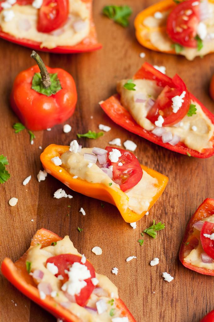 Hummus Stuffed Peppers