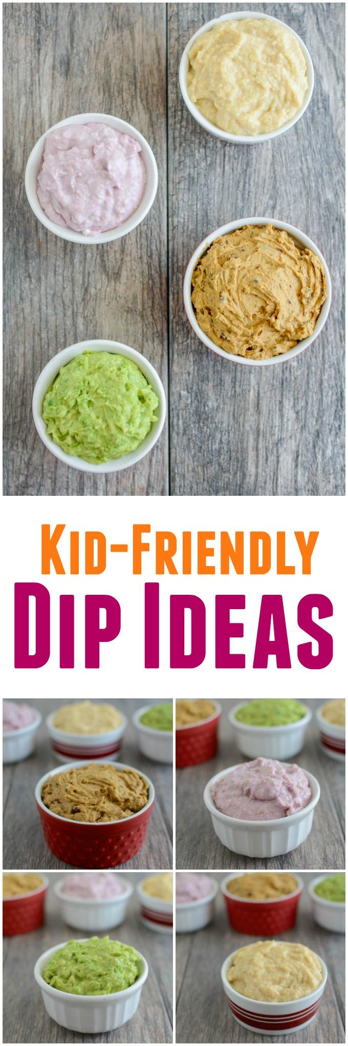 These 4 kid-friendly dips are easy to make and perfect for dipping everything from meat to vegetables at dinner or even eating with a spoon for a healthy snack!