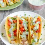 Baked Chicken Tacos with Creamy Cilantro Sauce
