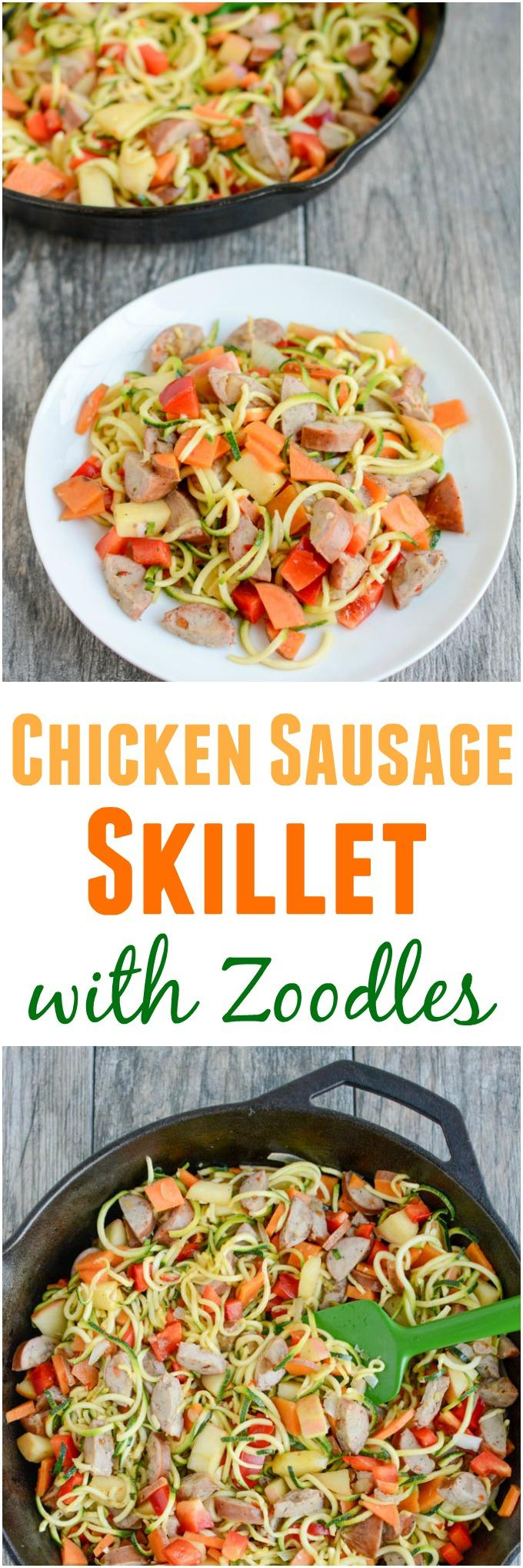 This gluten-free Chicken Sausage Skillet with Zoodles recipe will quickly become one of your go-to dinners. It's simple, healthy and easy to customize with whatever vegetables you have on hand.