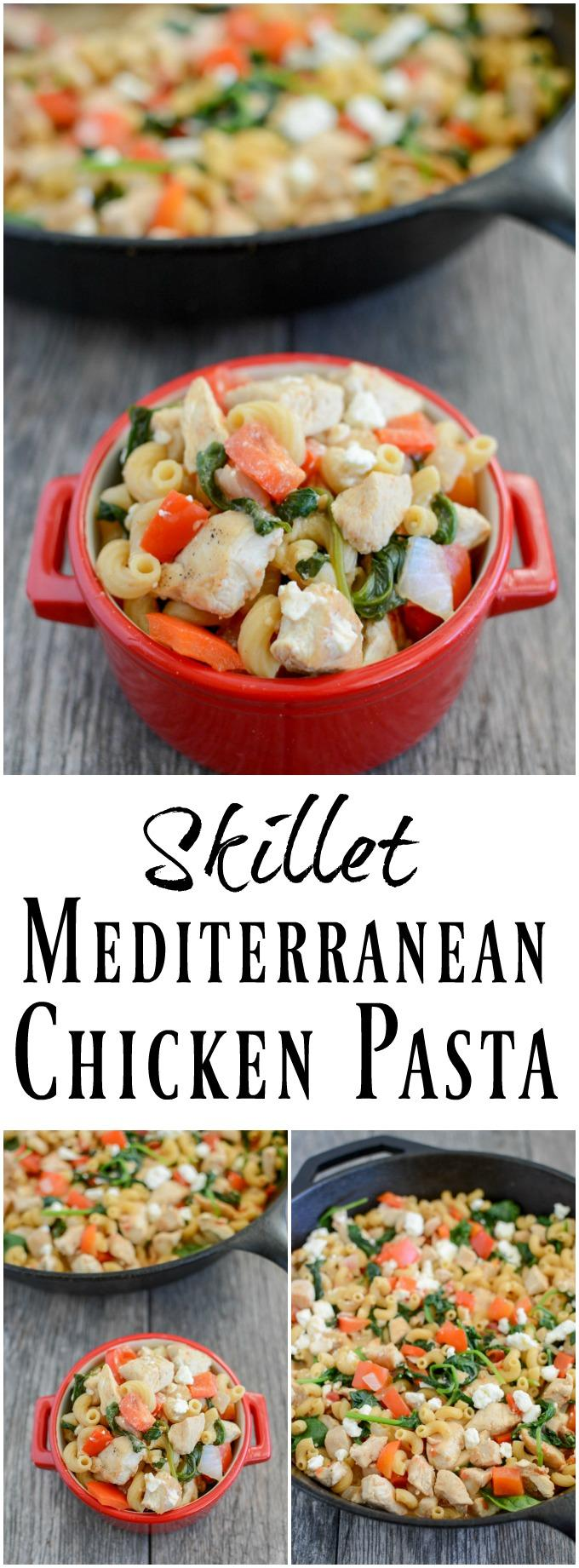 Only one pot required for this Skillet Mediterranean Chicken Pasta! This easy, healthy dinner recipe is the perfect one-pan meal for busy weeknights.