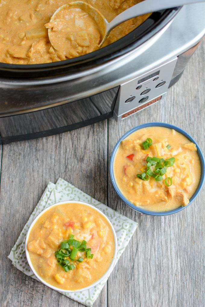 This Slow Cooker Creamy Pumpkin Chicken is the perfect easy fall dinner recipe. Throw all the ingredients in the crockpot, let it simmer and serve!