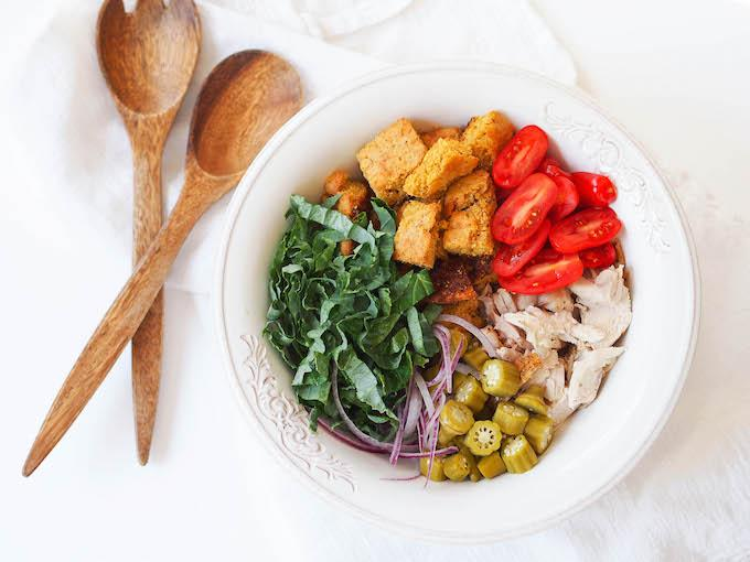 This Turkey and Cornbread Panzanella is the perfect recipe to use up your Thanksgiving leftovers! Enjoy this healthy bread salad for lunch while watching football!