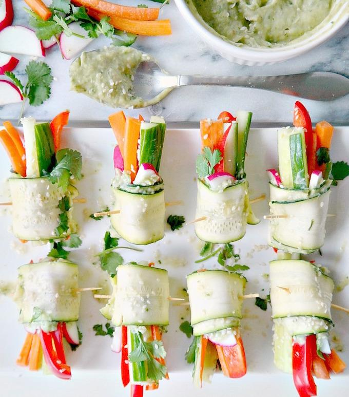 Veggie Rollups with Avocado Hummus