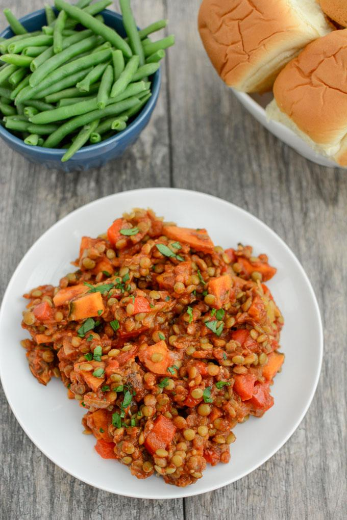 These Lentil Sloppy Joes are a healthy vegetarian recipe that's perfect for lunch or dinner. Serve over spaghetti squash to keep it gluten-free or on a bun!