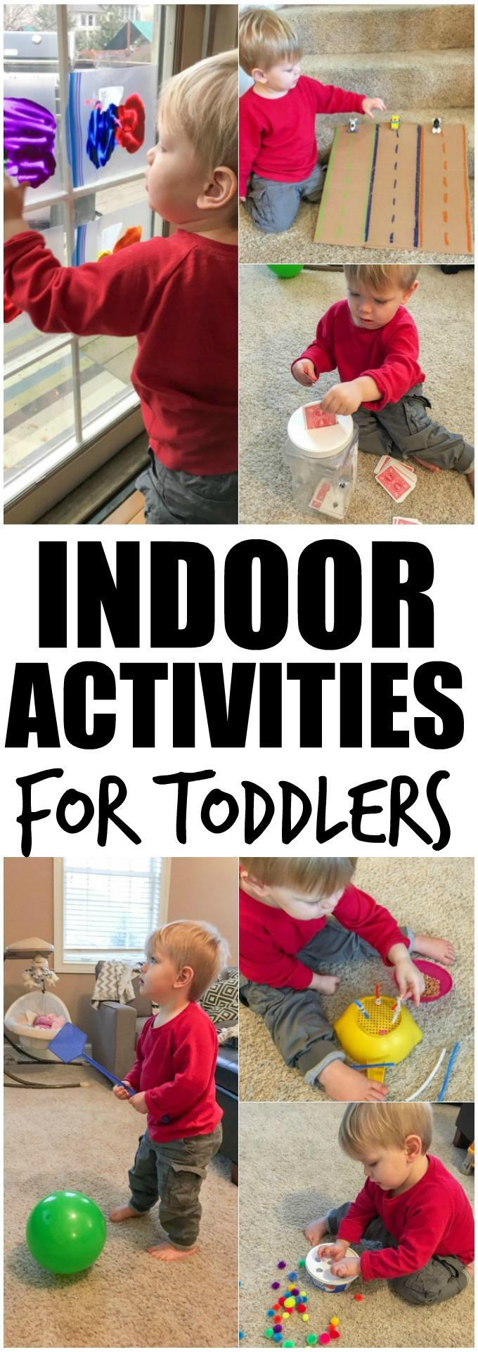 These Indoor Activities For Toddlers are perfect for winter or a rainy spring or summer day and many will help develop fine motor skills. Plus tips to make them harder for pre-school aged kids.