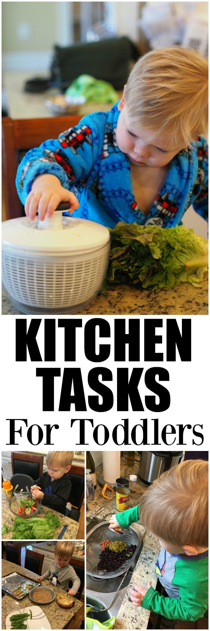 These simple kitchen tasks for toddlers are a great way for you spend time in the kitchen with your kids. They'll have fun learning, developing new skills and trying new things!