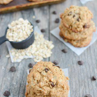These Dairy-Free Lactation Cookies are the perfect snack for nursing moms. Not breastfeeding? Leave out the brewer's yeast and enjoy an oatmeal chocolate chip cookie for dessert!