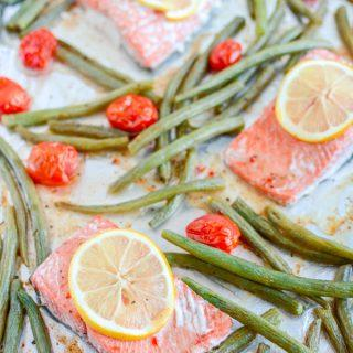 This Sheet Pan Italian Salmon and Green Beans is a healthy 20-minute dinner that requires just four ingredients!
