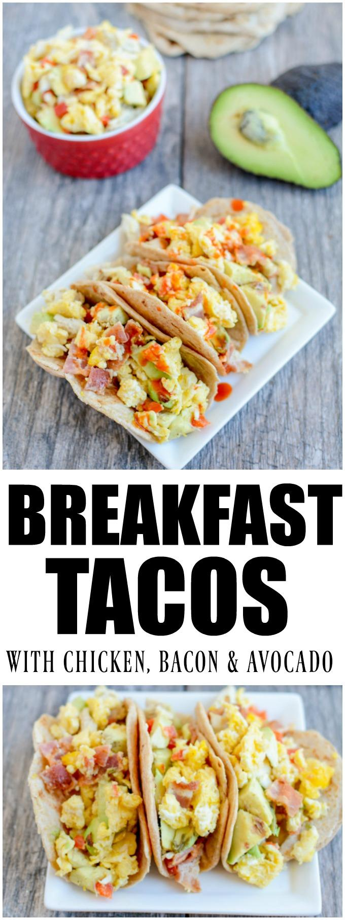 These Chicken Bacon Avocado Breakfast Tacos are an easy way to transform leftover chicken from dinner into a healthy new morning meal!