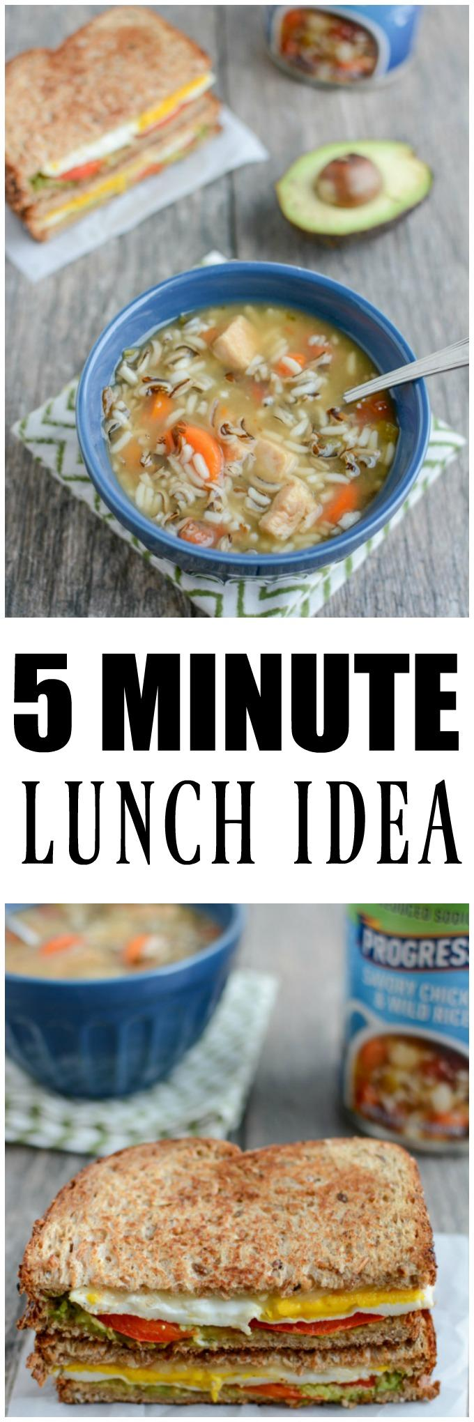 This Easy 5 Minute Lunch is perfect for a busy day. Pair a jazzed up grilled cheese with a cup of soup for an easy, filling meal.