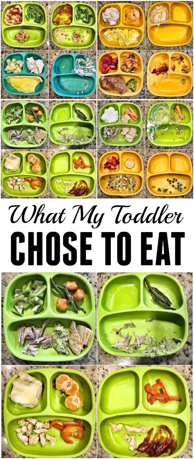 A look at what my toddler chose to eat versus what I served him for a week of breakfast, lunch and dinners.