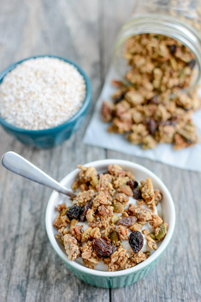 This Puffed Amaranth Granola recipe is lightly sweetened, packed with protein and perfect for a healthy, gluten-free breakfast or snack!