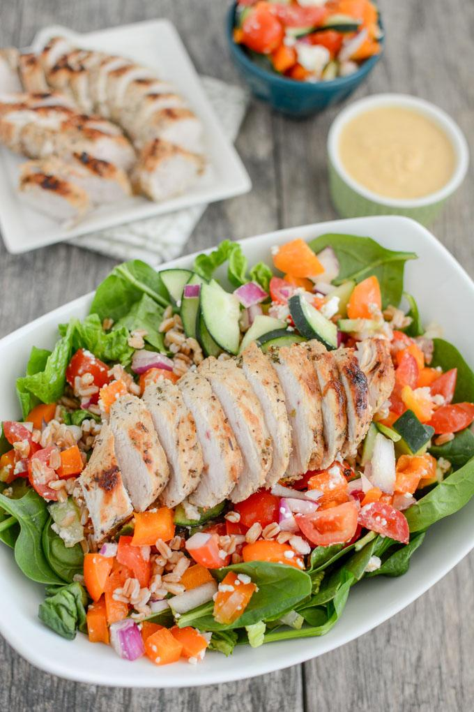 Mediterranean Turkey Spinach Salad