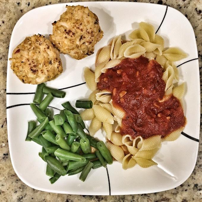 Salmon cakes and pasta