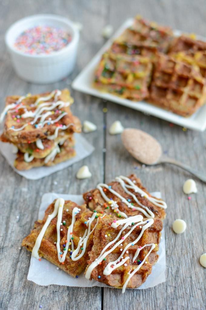 These Dessert French Toast Waffle Bites are a kid-friendly treat that makes a fun, healthy dessert alternative to cookies or cake.