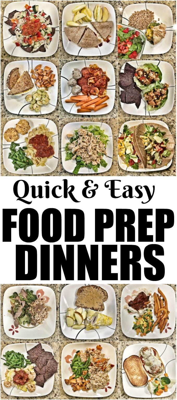 These Quick Food Prep Dinners are perfect for busy nights. Learn what food to prep ahead of time and how to use it to assemble quick and healthy weeknight dinners.