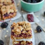 Serve these Blackberry Crumble Bars for a healthy dessert everyone will love! Make them with fresh or frozen blackberries and serve them for a party or a kid-friendly evening treat.